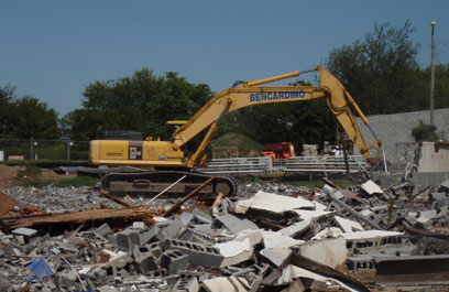 Demolition in progress at the new SWAT facility